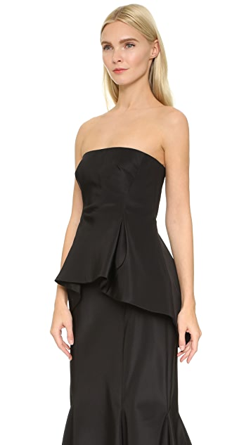 J. Mendel Strapless Gown with Peplum Detail