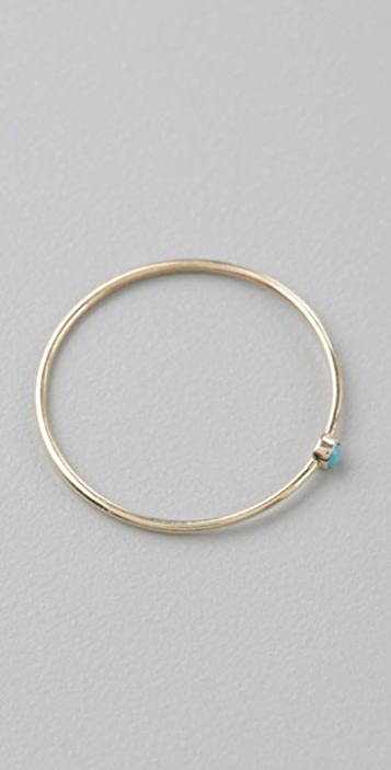 Jennifer Meyer Jewelry Thin Stackable Ring with Turquoise