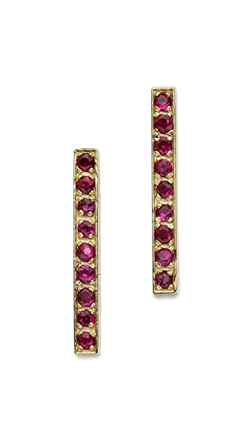 Jennifer Meyer Jewelry Ruby Long Bar Stud Earrings