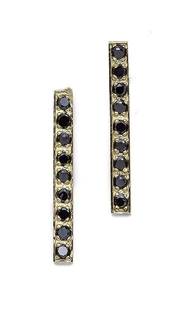 Jennifer Meyer Jewelry Diamond Long Bar Stud Earrings