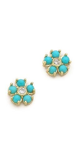Jennifer Meyer Jewelry - 绿松石花朵钻石耳钉