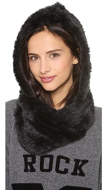 Jocelyn Rabbit Fur Hood Infinity Scarf