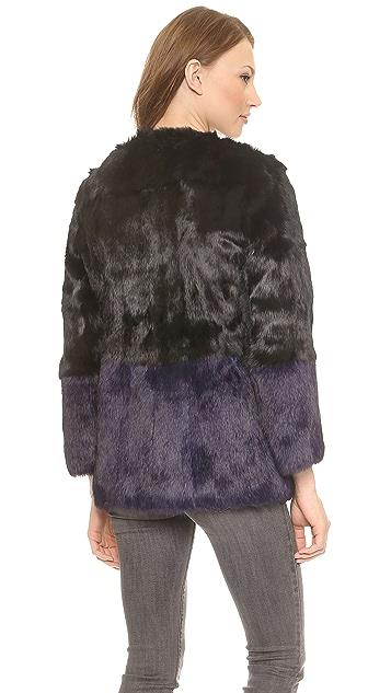 Jocelyn Colorblock Fur Coat