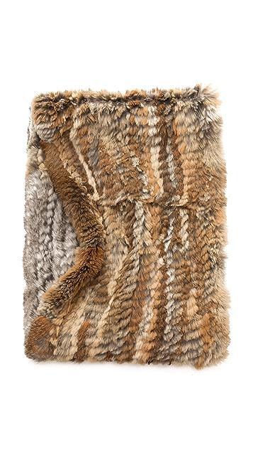 Jocelyn Diagonal Colorblock Fur Infinity Scarf
