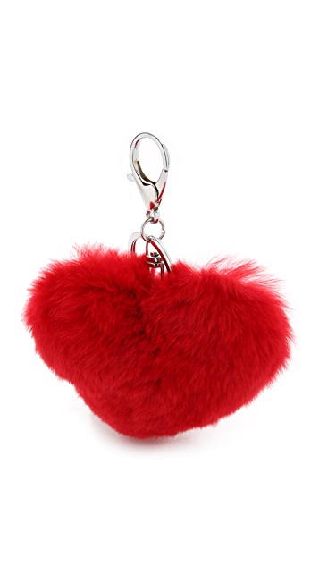 Jocelyn Fur Heart Key Ring Bag Charm