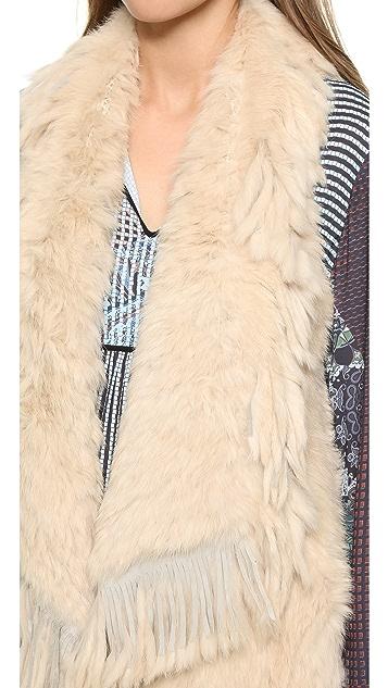 Jocelyn Asymmetrical Fringe Fur Vest