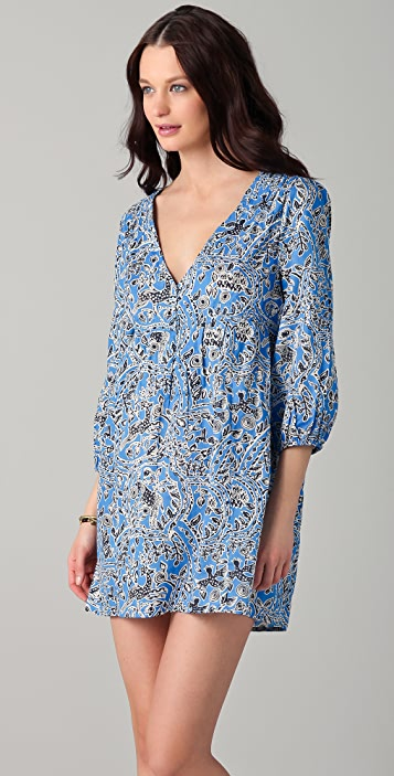 Joie Collie Mayan Print V Neck Cover Up