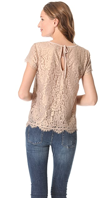 Joie Marella Metallic Lace Top