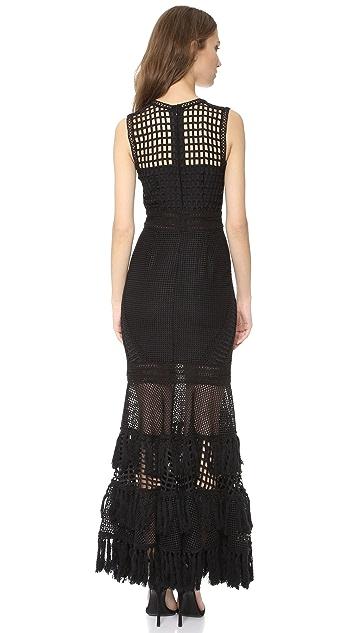 Jonathan Simkhai Grid Fringe Gown