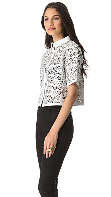 Jonathan Simkhai Laser Cut Leather Shirt