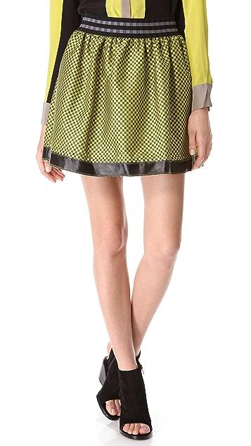 Jonathan Simkhai Checked Skirt with Leather Trim