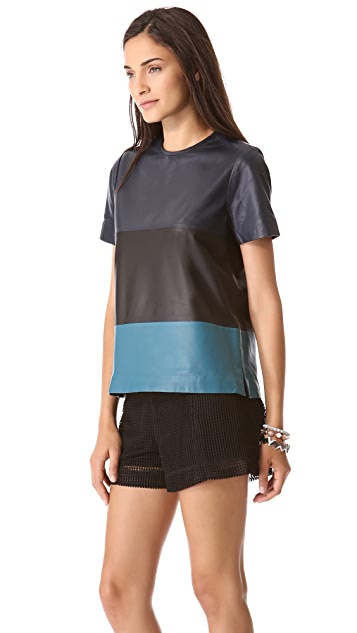 Jonathan Simkhai Colorblock Leather Tee