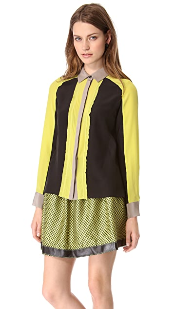 Jonathan Simkhai Sheer Placket Blouse