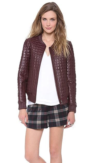 Jonathan Simkhai Leather Bomber Jacket