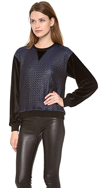Jonathan Simkhai Textured Stretch Sweatshirt