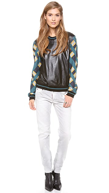Jonathan Simkhai Leather Check Sweatshirt