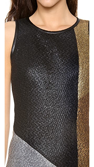 Jonathan Simkhai Colorblock Boucle Dress
