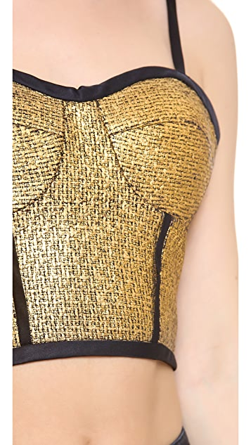 Jonathan Simkhai Metallic Tweed Bustier Top