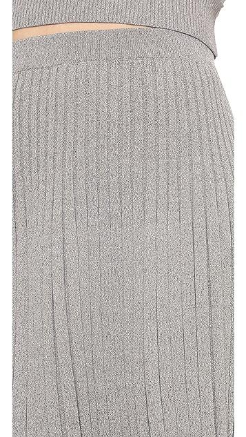 Jonathan Simkhai Ribbed Knit Flared Skirt