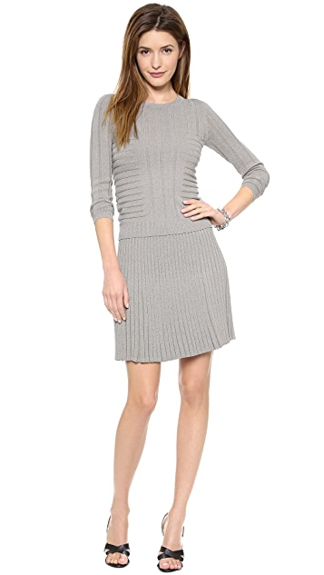 Jonathan Simkhai Emboss Long Sleeve Stretch Knit Sweater
