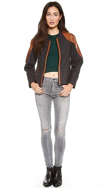 Jonathan Simkhai Wool & Leather Jacket