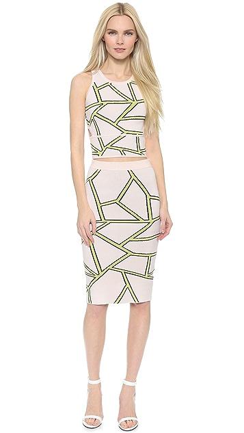 Jonathan Simkhai Fit Knit Intarsia Skirt