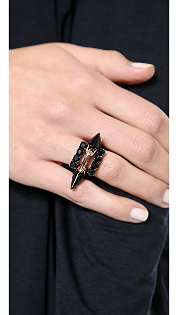 Joomi Lim Black Out Set of 3 Crystal & Spike Rings
