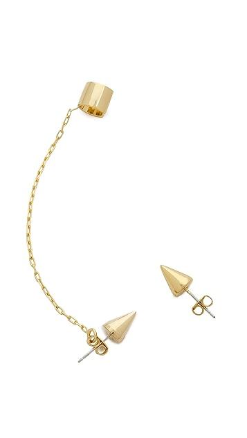 Joomi Lim Chain Cuff & Spike Earrings
