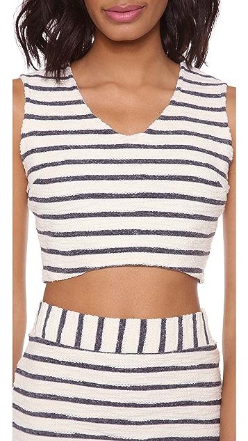 J.O.A. Striped Crop Top