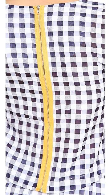 J.O.A. Short Sleeve Gingham Top
