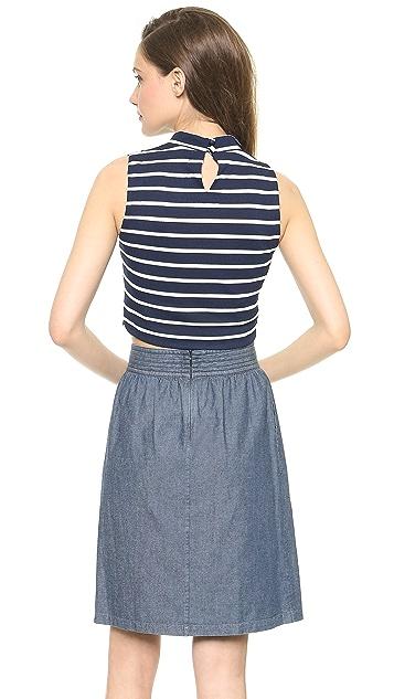J.O.A. Striped Standing Neck Crop Top