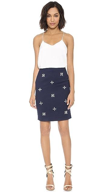 J.O.A. Embellished Pencil Skirt
