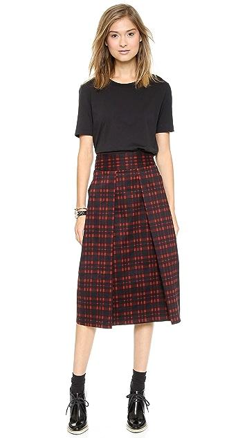 J.O.A. Pleated Long Skirt in Checks