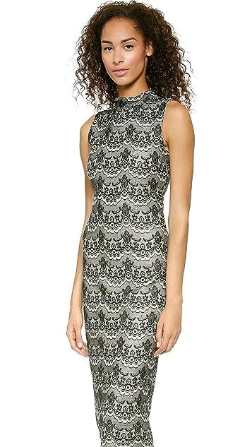 J.O.A. Lace Bonded Knit Dress