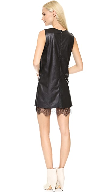 J.O.A. Leather Dress with Lace Hem