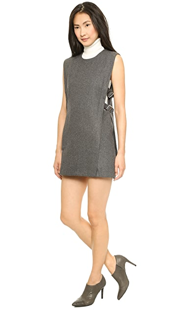 J.O.A. Sleeveless Woolen Dress with Buckle Detail