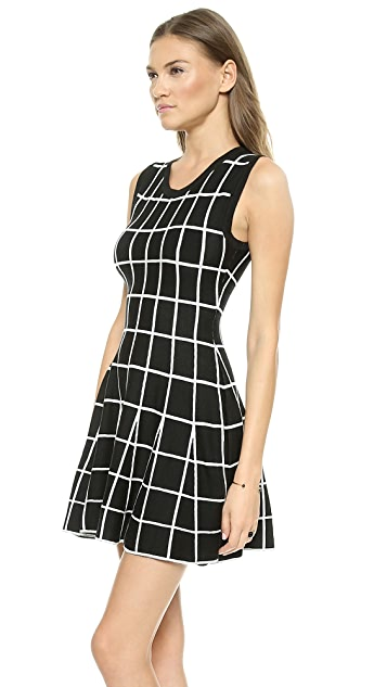 J.O.A. Knitted Skater Dress in Check