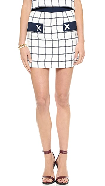 J.O.A. Plaid Woven Skirt with Pocket Detail