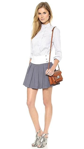 J.O.A. Pleats Skirt with Contrast Waistband