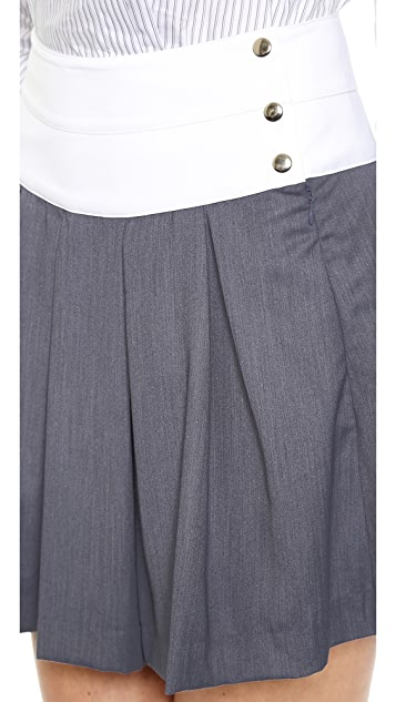 J.O.A. Pleats Skirt with Contrast Waistband