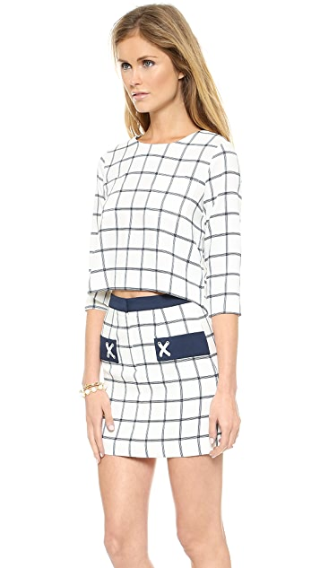 J.O.A. Plaid Woven Top with Wide Sleeves