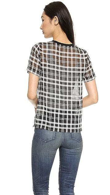 J.O.A. Checked Organza T-Shirt