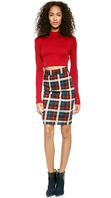 J.O.A. Checked Pencil Skirt