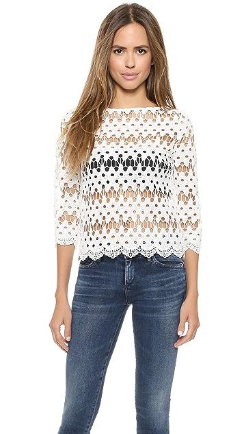 J.O.A. Кружевная блуза в волнистую полоску
