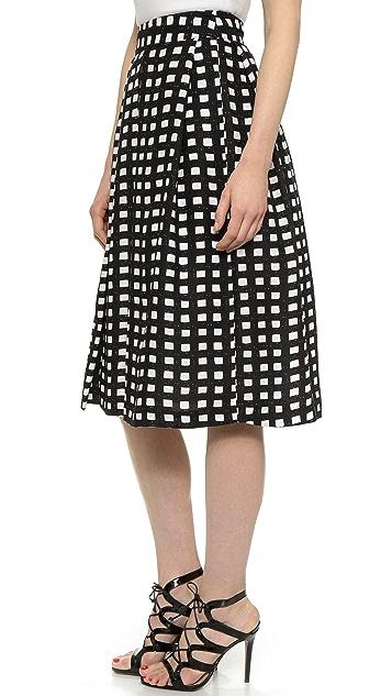 J.O.A. Checkered Midi Skirt