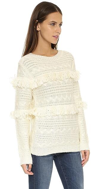 J.O.A. Fringe Contrast Knit Sweater