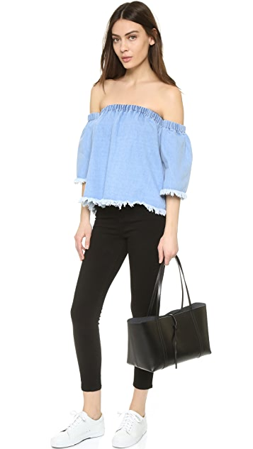 J.O.A. Frayed Denim Cold Shoulder Blouse