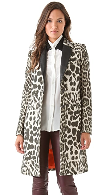 Joseph Man Leopard Coat with Leather Trim