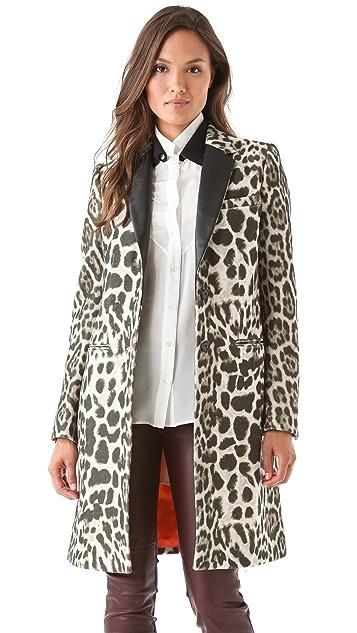 Joseph Man Leopard Coat with Leather Trim