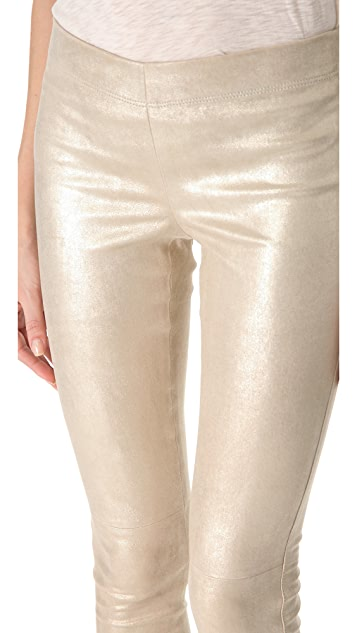 Joseph Metallic Stretch Leather Pants